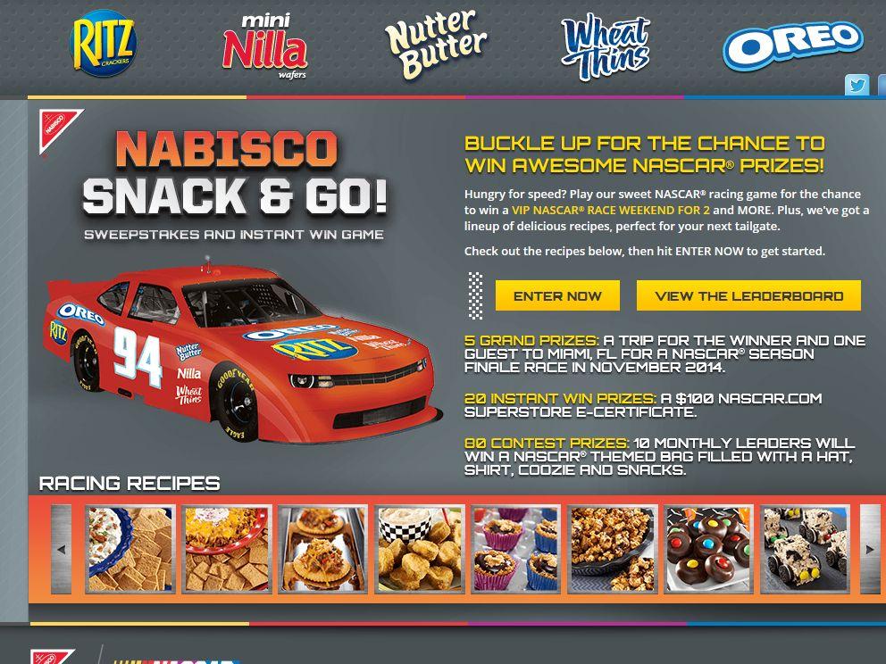 Nabisco's Snack & Go! NASCAR Race Sweepstakes