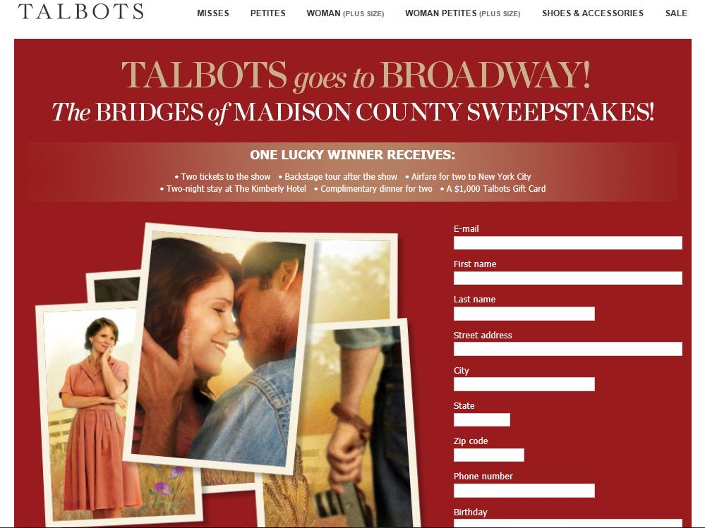 Talbots The Bridges Of Madison County Sweepstakes