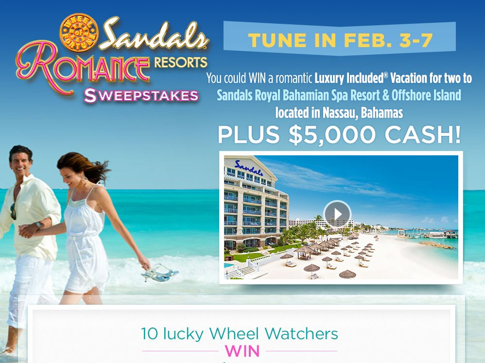 Wheel of Fortune Sandals Resorts Romance Sweepstakes