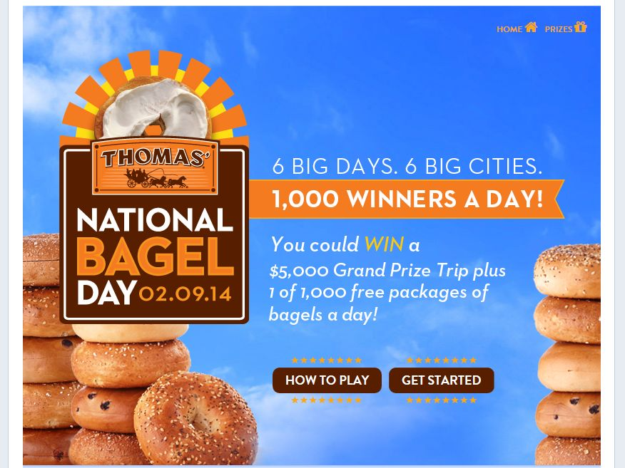 "Thomas' English Muffins and Bagels ""National Bagel Day"" Promotion"