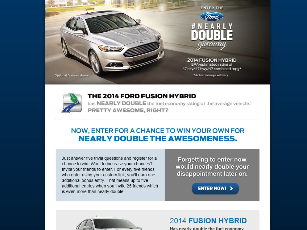 Ford 2014 Nearly Double Giveaway