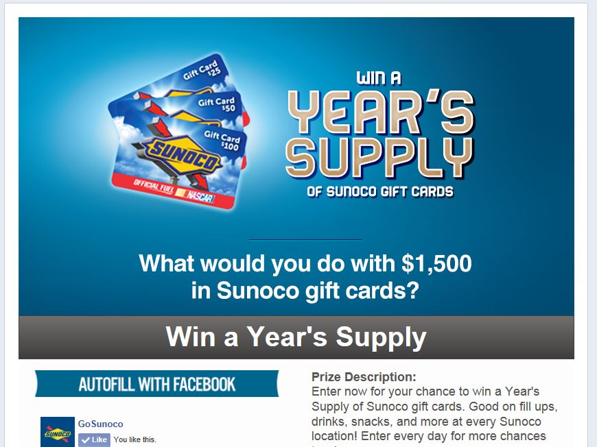 Sunoco Win A Year's Supply Sweepstakes – Select States