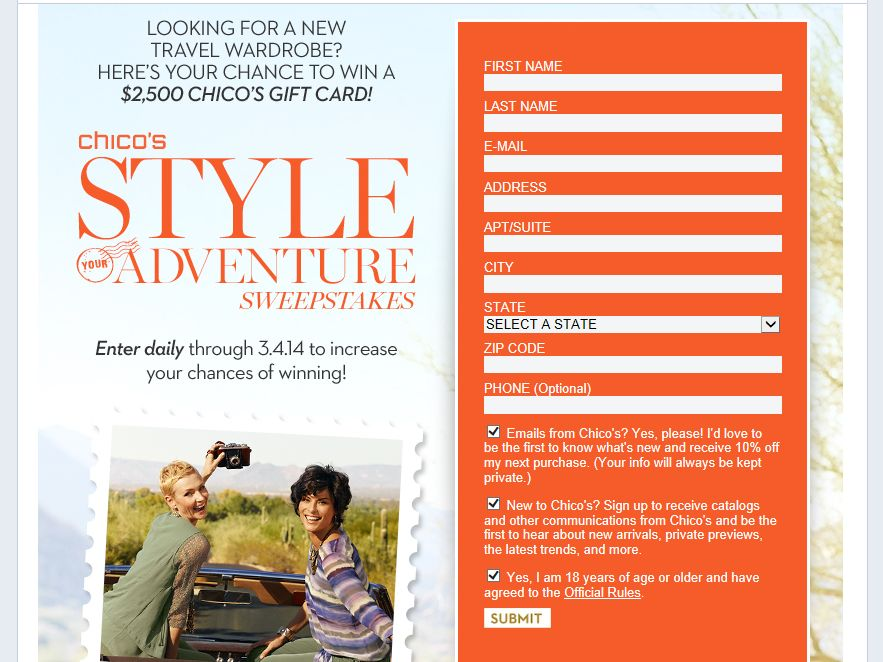 Chico's Style Your Adventure Sweepstakes