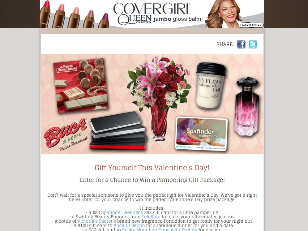 THE QUEEN LATIFAH SHOW Gift Yourself This Valentine's Day Sweepstakes