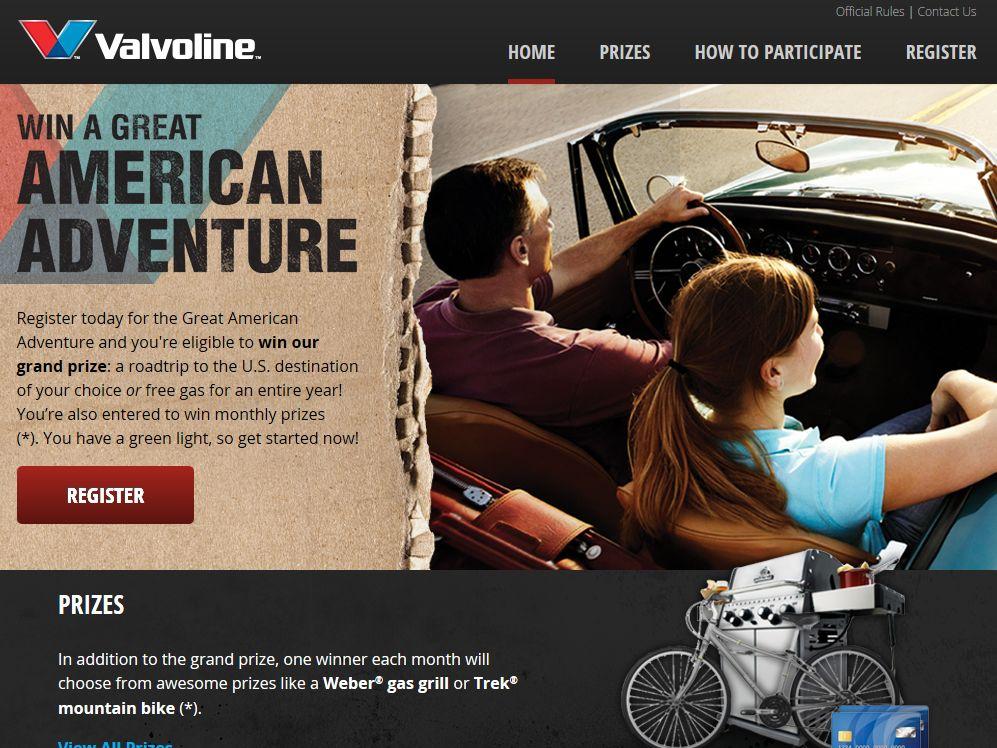 "Valvoline ""Great American Adventure"" Sweepstakes"
