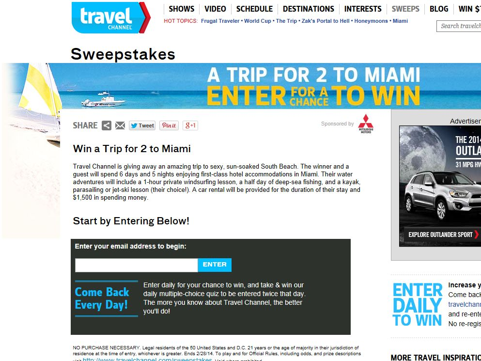 Travel Channel February 2014 Sweepstakes