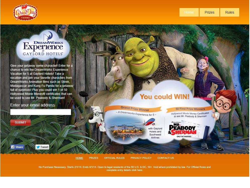 DreamWorks Experience at the Gaylord Hotels Sweepstakes