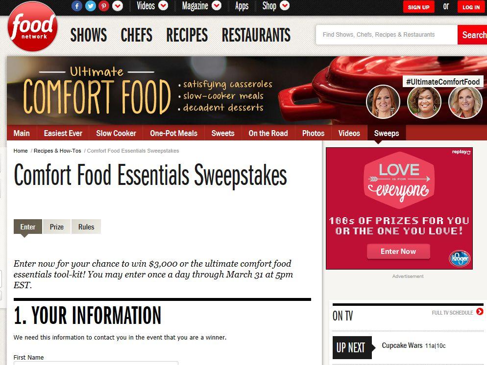 Food Network Comfort Food Essentials Sweepstakes