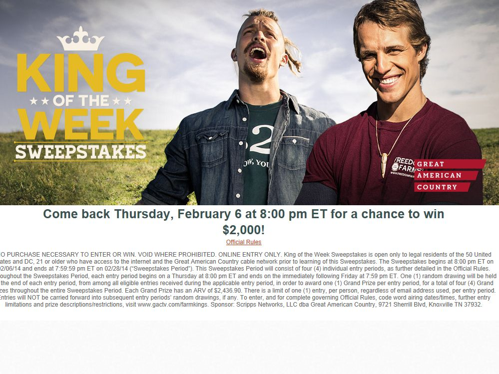 King of the Week Sweepstakes