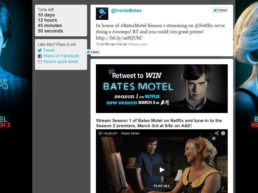 A&E Bates Motel Retweet Sweepstakes