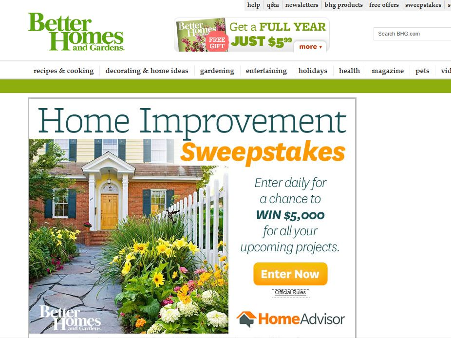 Better Homes Gardens Home Improvement Sweepstakes