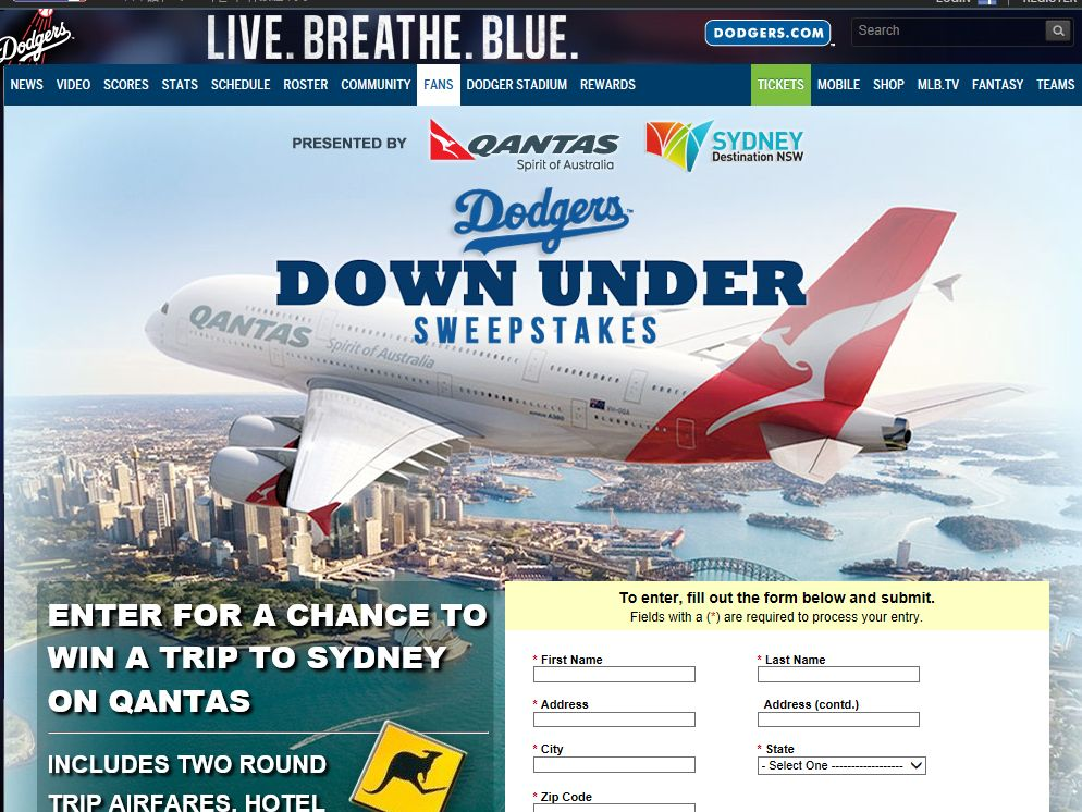 Dodgers Down Under Sweepstakes