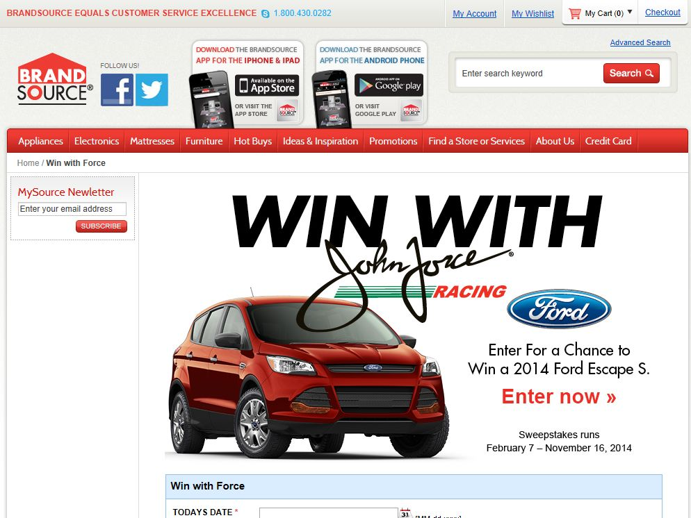 2014 Win With Force – Ford Escape Sweepstakes