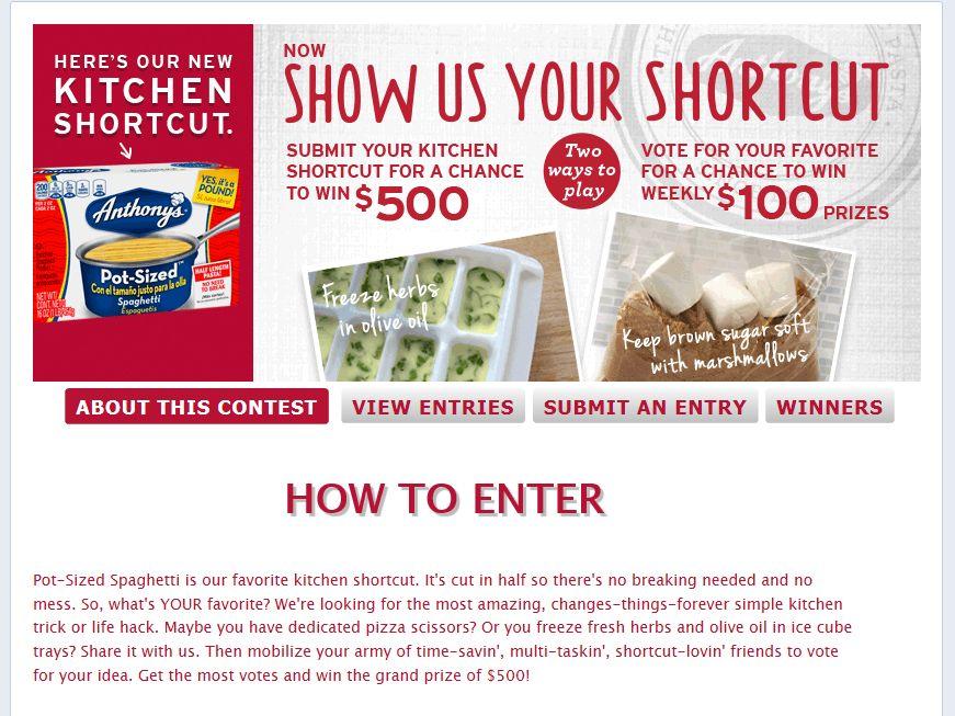 Anthony's Pasta Show Us Your Shortcut Contest