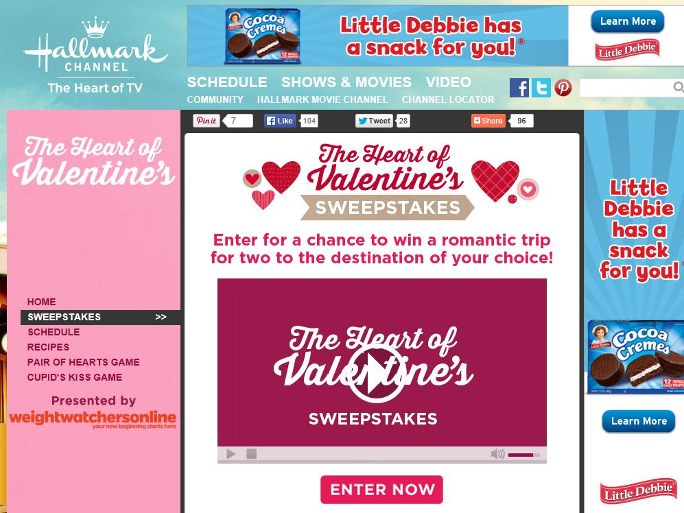 Hallmark Channel's The Heart of Valentine's Sweepstakes