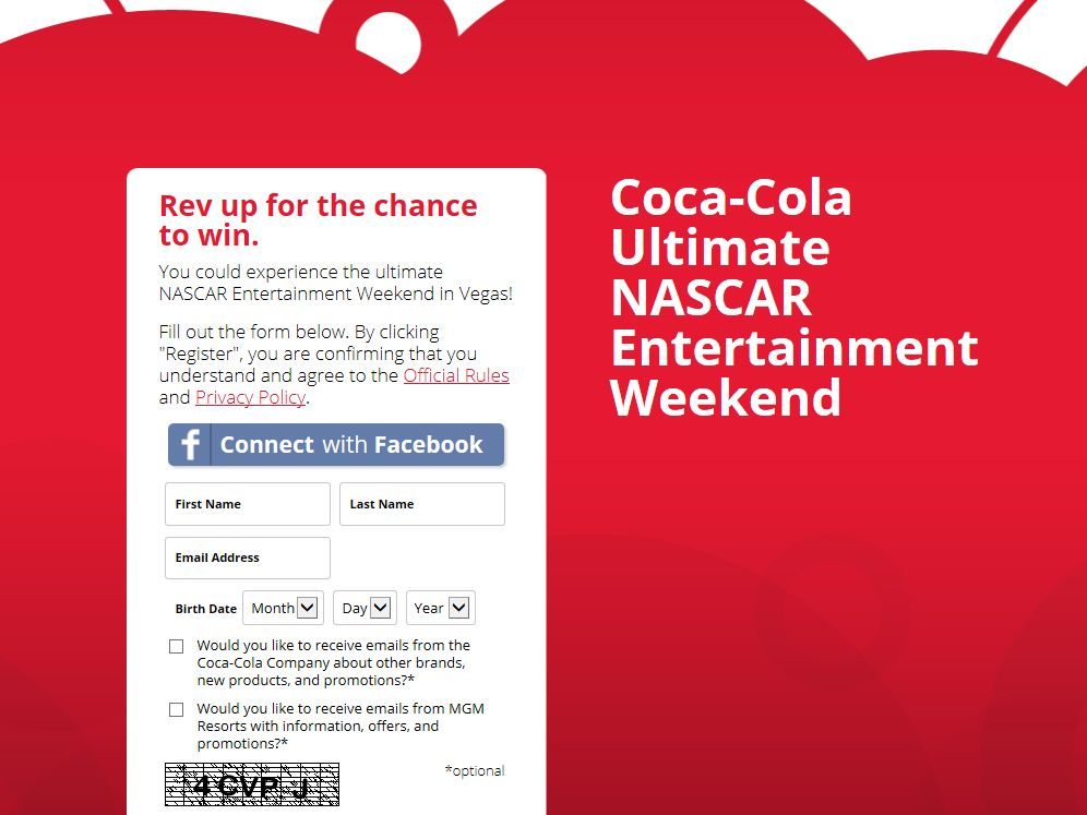Coca-Cola Ultimate NASCAR Entertainment Weekend Sweepstakes