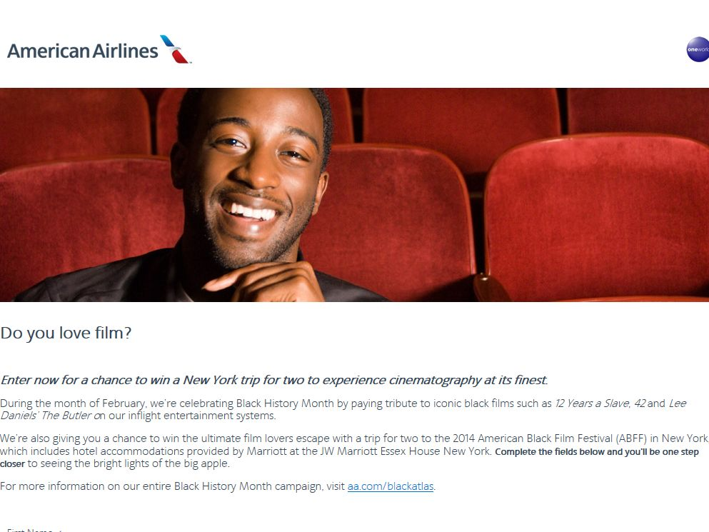 American Airlines Iconic Black Films Sweepstakes