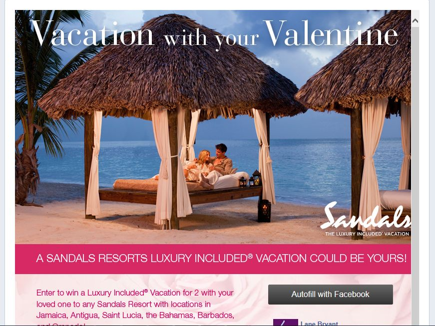 "Lane Bryant ""Vacation with your Valentine"" Sweepstakes"