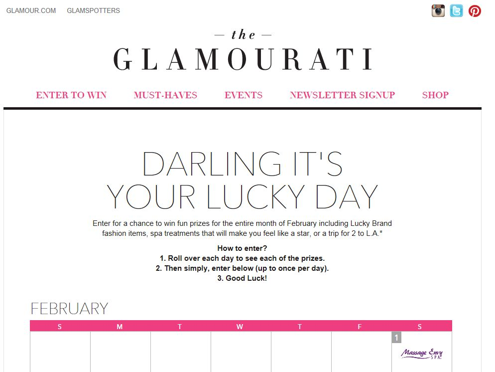 Glamour.com Lucky Darling Sweepstakes