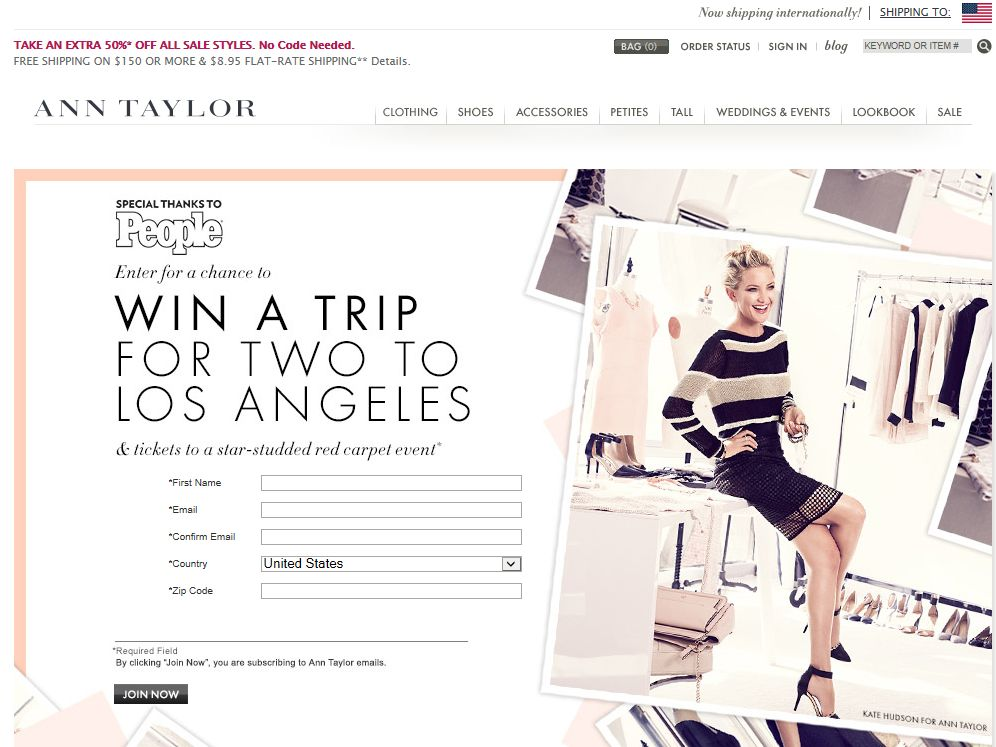 """Ann Taylor """"L.A. Style"""" Online Sweepstakes"""