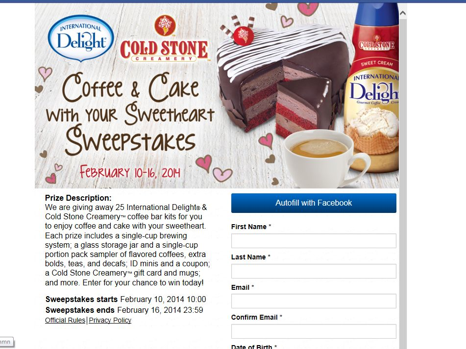 International Delight & Cold Stone Creamery Coffee & Cake with Your Sweetheart Sweepstakes