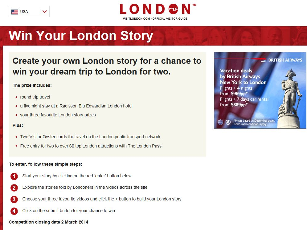 Win Your London Story Sweepstakes