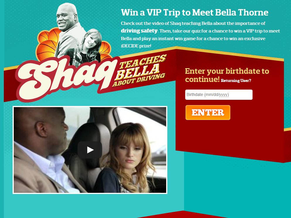 Shaq Teaches Bella about Driving Instant Win and Sweepstakes