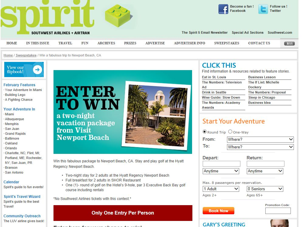 Spirit Newport Beach Sweepstakes