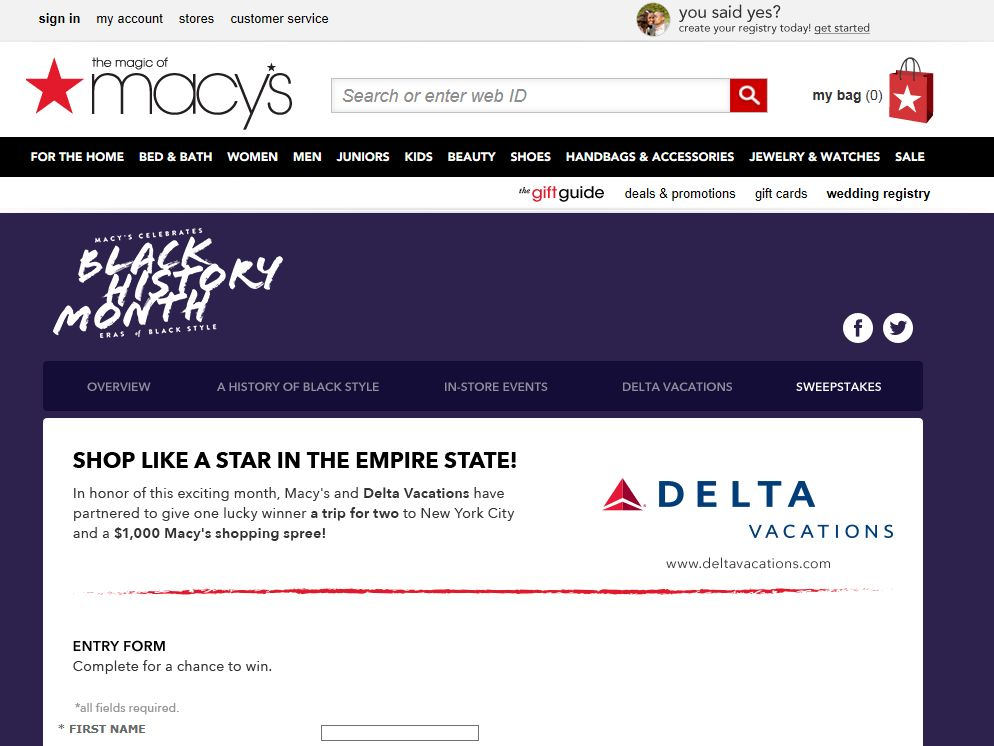 Macy's Black History Month Sweepstakes