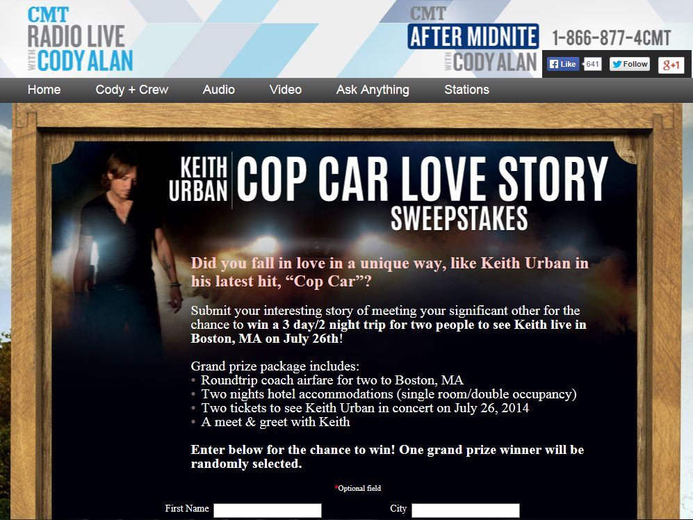 Keith Urban Cop Car Love Story Sweepstakes