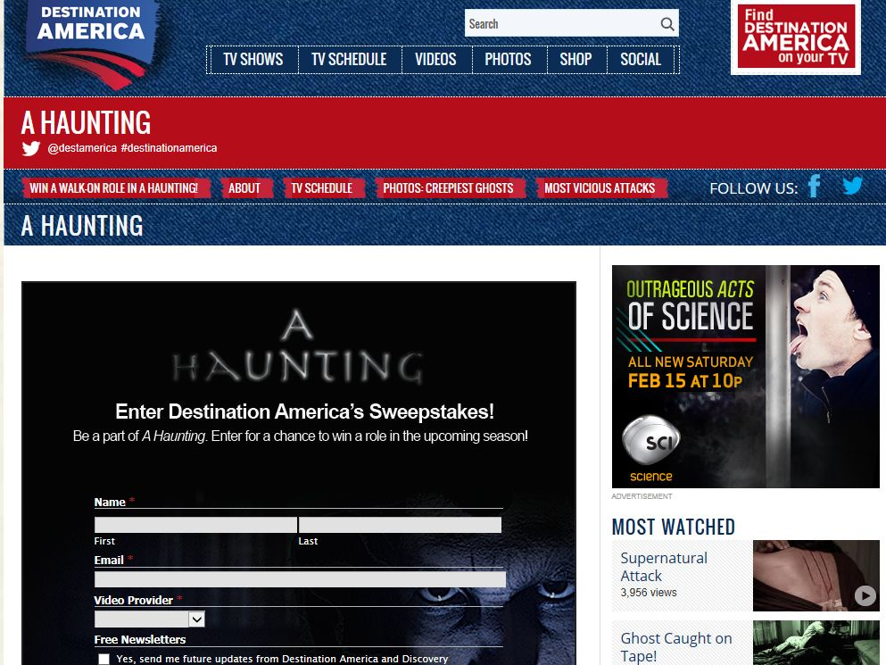 "Destination America ""A Haunting"" Walk On Role Sweepstakes"