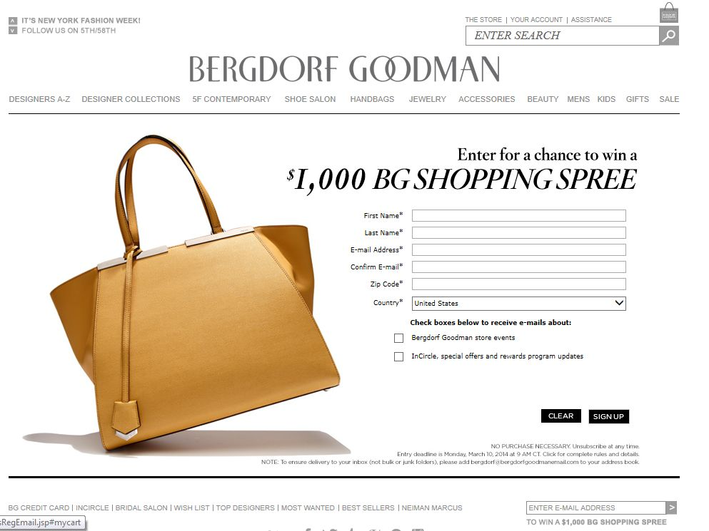 $1,000 Bergdorf Goodman Promotional Gift Card Sweepstakes