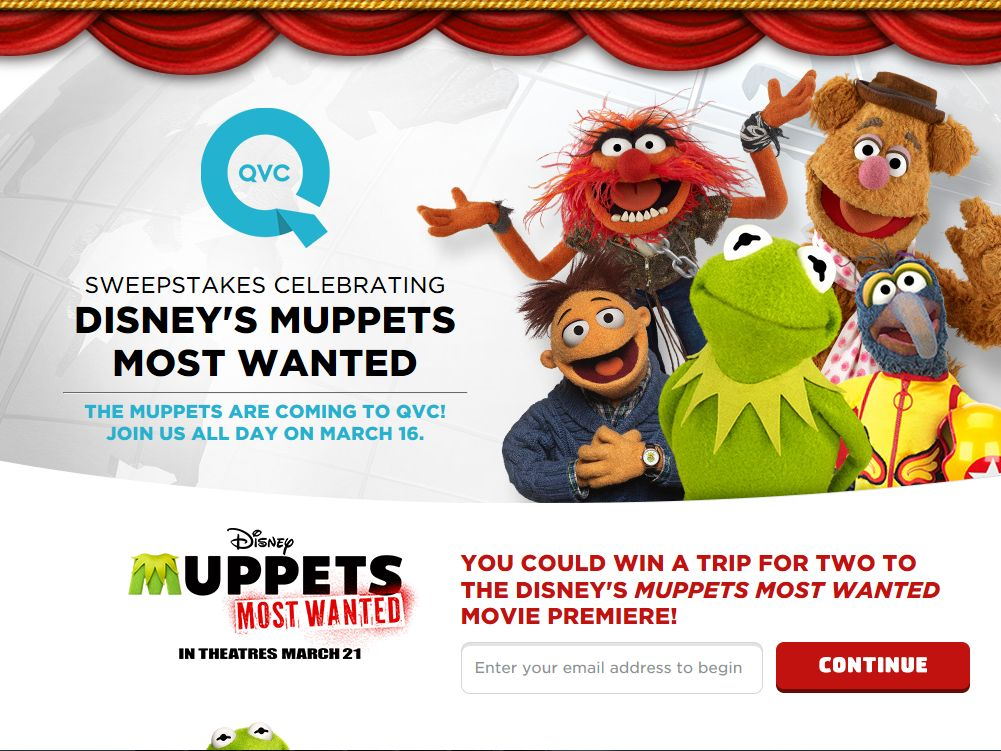 QVC Sweepstakes Celebrating Disney's Muppets Most Wanted Sweepstakes