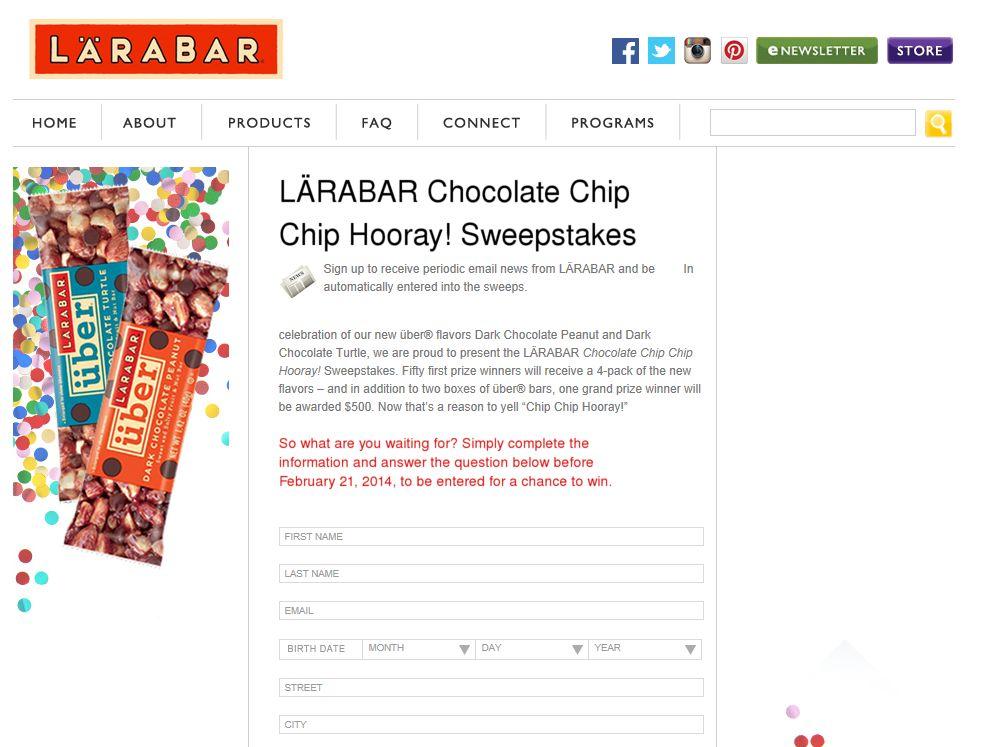 LÄRABAR Chocolate Chip Chip Hooray! Sweepstakes