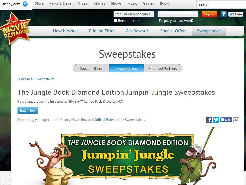 Disney's Jungle Book Diamond Edition Jumpin' Jungle Sweepstakes