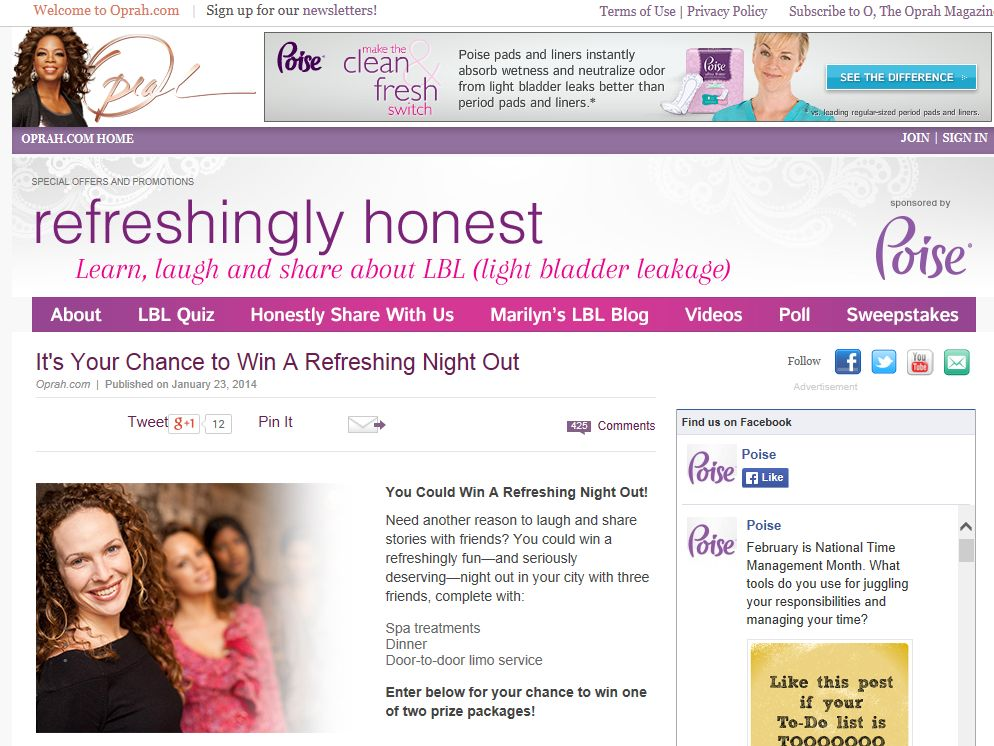 Oprah Refreshing Night Out Sweepstakes