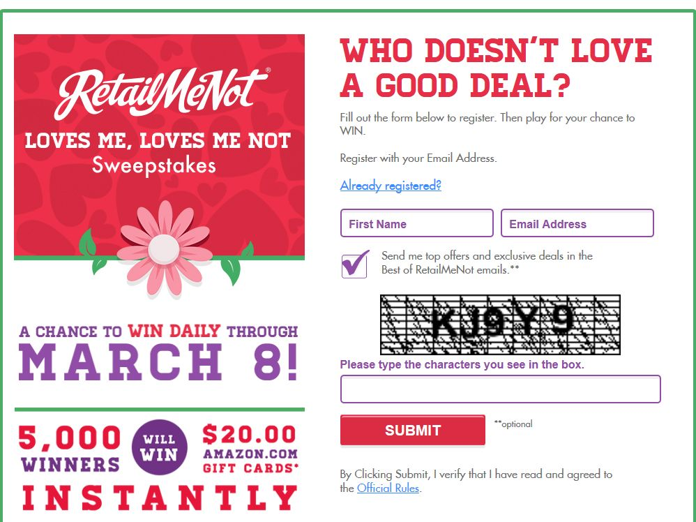 Retail Me Not Loves Me, Loves Me Not Sweepstakes