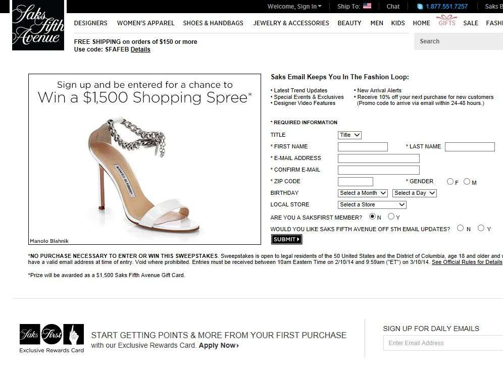 Saks Fifth Avenue Win A $1,500 Shopping Spree Sweepstakes