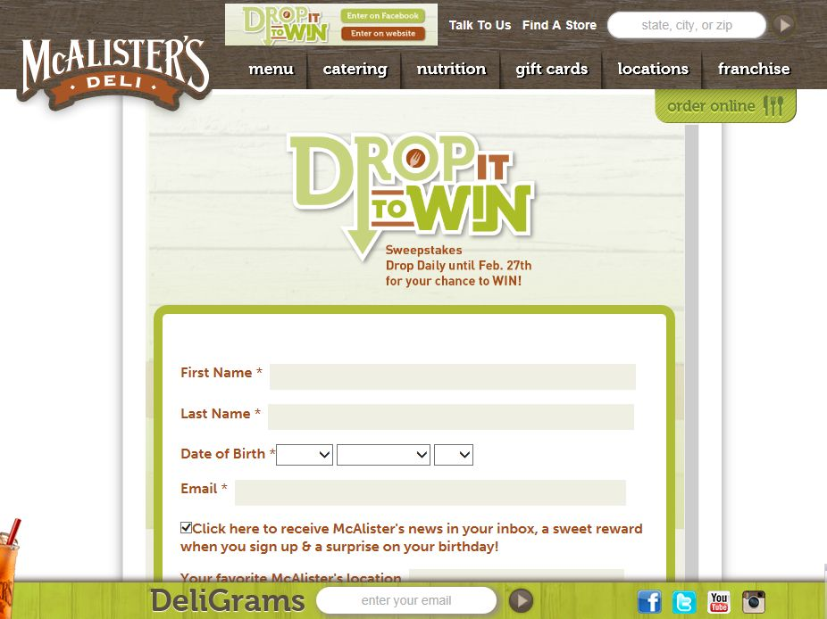 """McAlister's """"Drop it to Win"""" Sweepstakes"""
