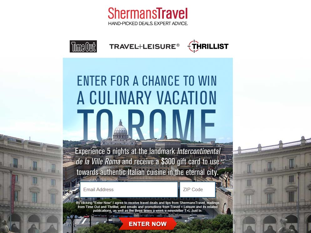 Rome Culinary Vacation Sweepstakes
