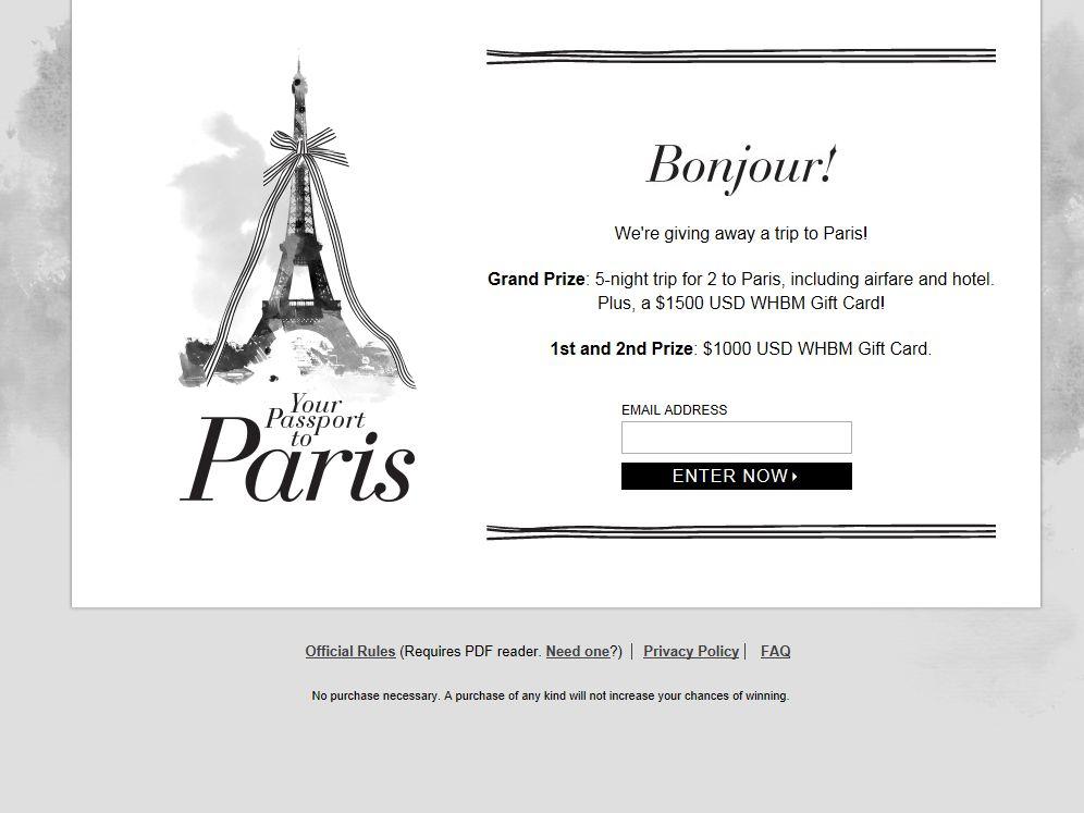 White House Black Market Passport to Paris Sweepstakes