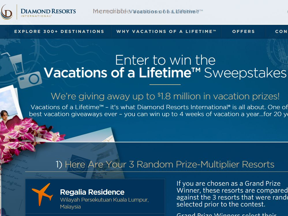 Diamond Resorts Vacations of a Lifetime Sweepstakes