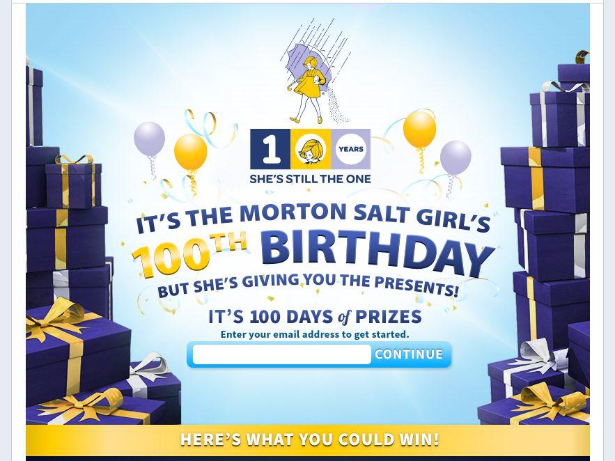 Morton Salt Girl 100th Birthday Instant Win Game