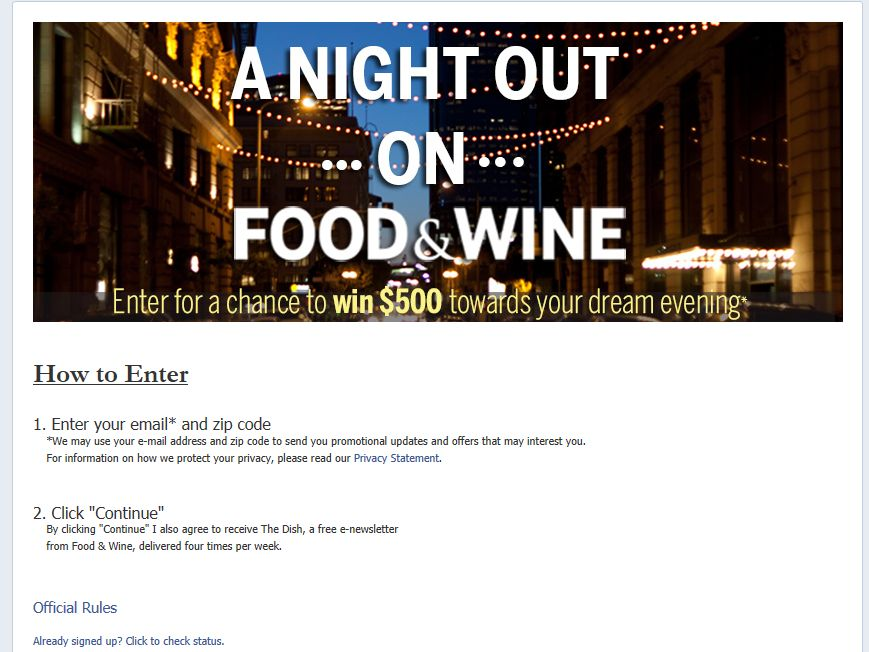 Night Out on Food & Wine Giveaway