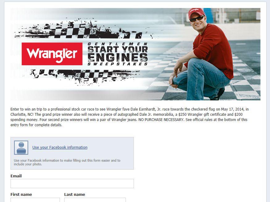 """Wrangler """"Gentlemen Start Your Engines"""" Sweepstakes"""