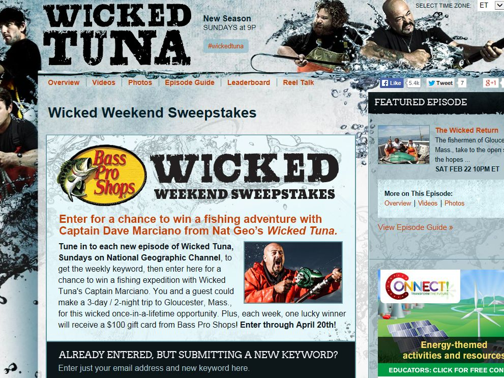 "National Geographic Channel's ""Bass Pro Shops Wicked Weekend"" Sweepstakes"