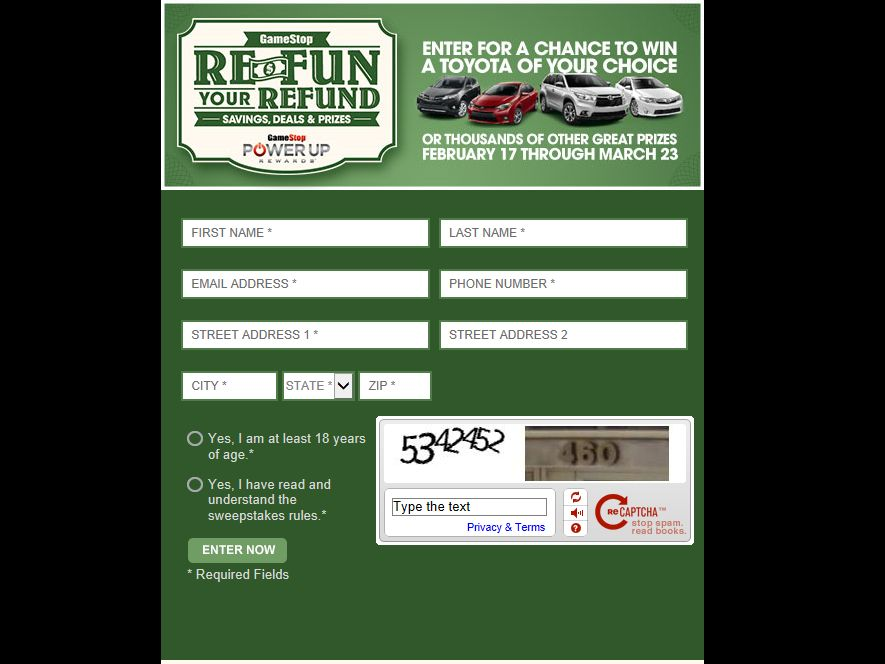 Game Stop Re-Fun Your Refund Share Sweepstakes