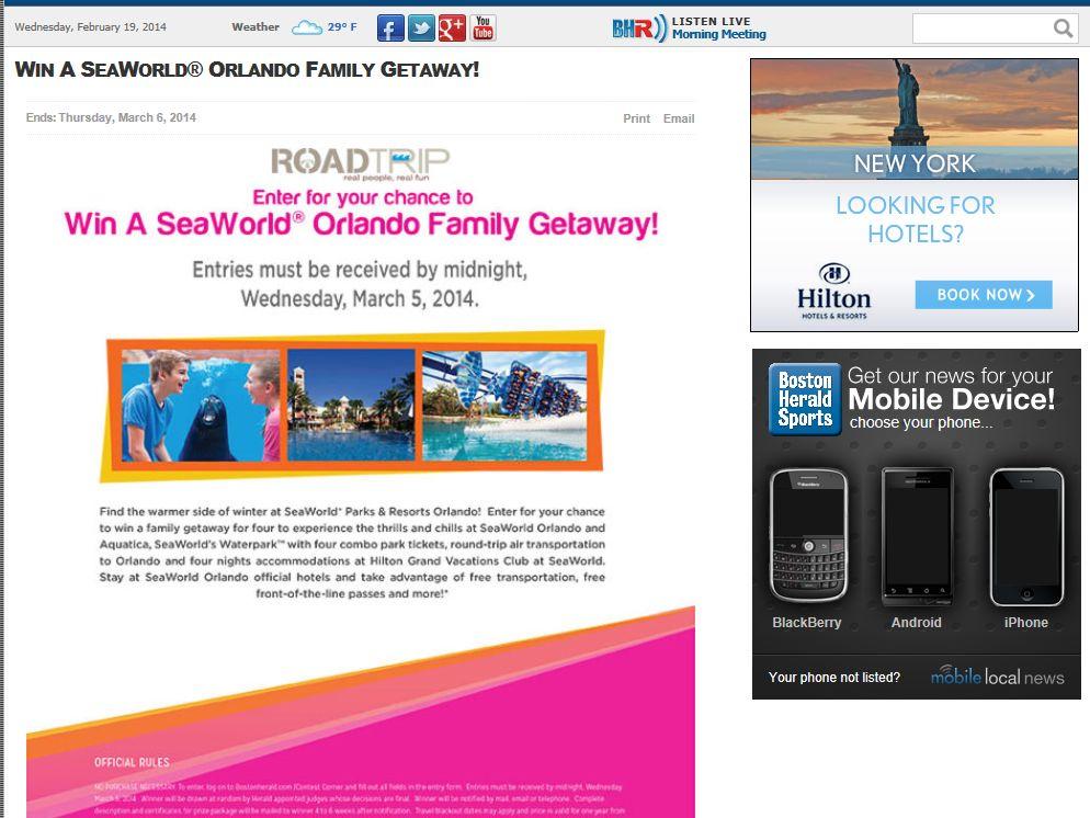 Win A SeaWorld Orlando Family Getaway – Boston, MA Only