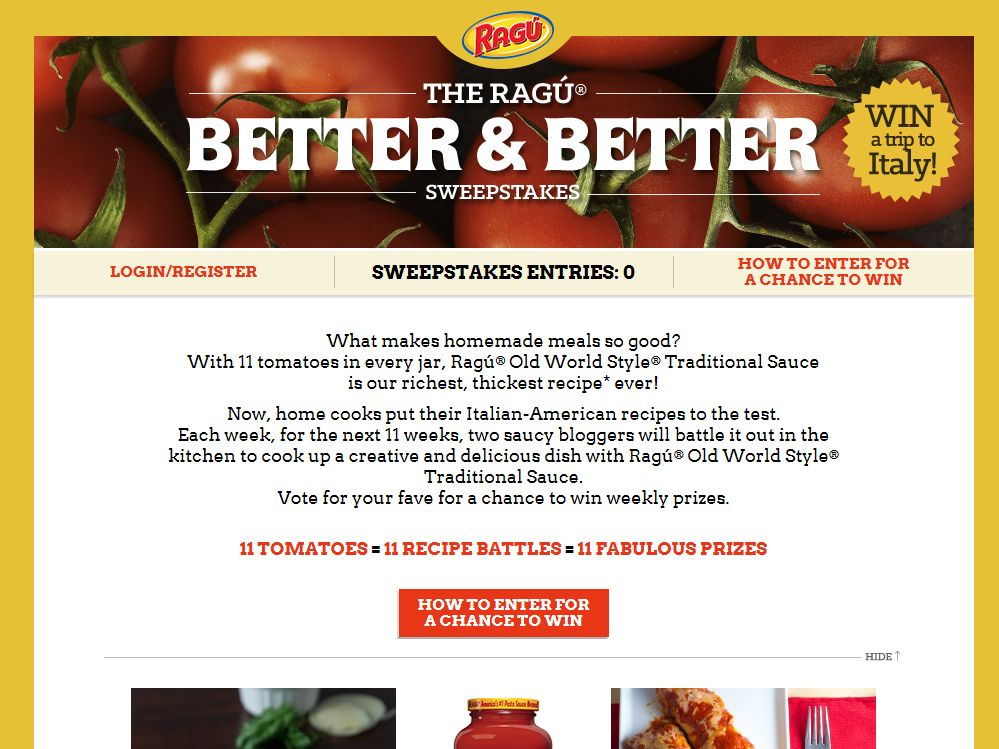 Ragú Better and Better Sweepstakes