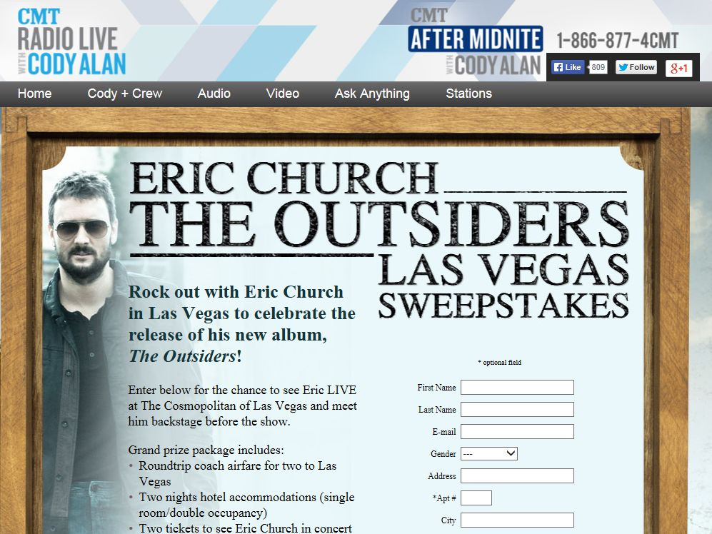 Eric Church The Outsiders Las Vegas Sweepstakes